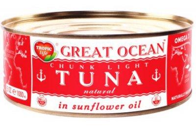Тунец целый Tropic Life Great Ocean в подсолнечном масле 950 г (5060235659201)