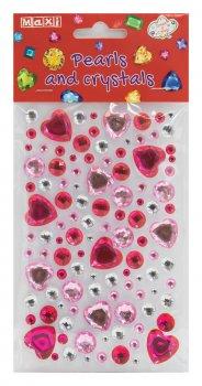Перлини та стрази Maxi самоклейні Асорті перлини та червоні серця (MX61605-19)