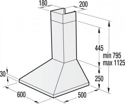 Встр.каминная вытяжка Gorenje WHC623E16X / 60 см./ нержав.сталь /3 скорости/ алюм.фильт
