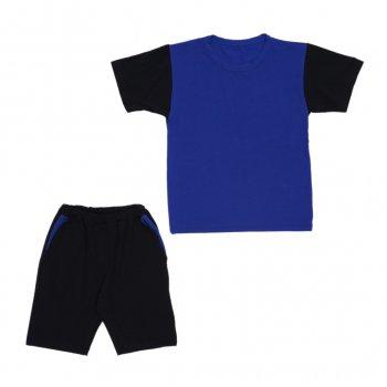 Костюм Sofushka (футболка+шорти) чорний з синім 134
