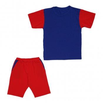 Костюм Sofushka (футболка+шорти) червоний з синім 158