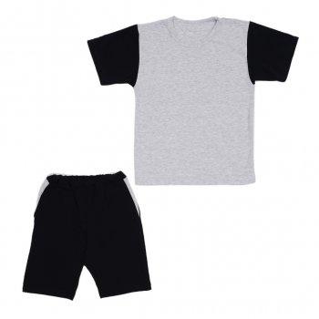 Костюм Sofushka (футболка+шорти) чорний з сірим 164