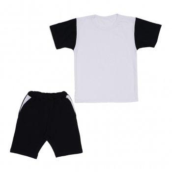 Костюм Sofushka (футболка+шорти) чорний з білим 140