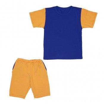 Костюм Sofushka (футболка+шорти) гірчичнийз синім 140