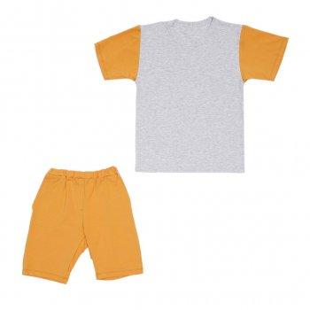 Костюм Sofushka (футболка+шорти) 0052 сірий з гірчичним 128