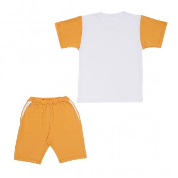 Костюм Sofushka (футболка+шорти) білий з гірчичним 140