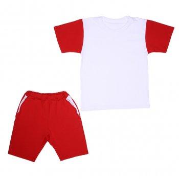 Костюм Sofushka (футболка+шорти) червоний з білим 128