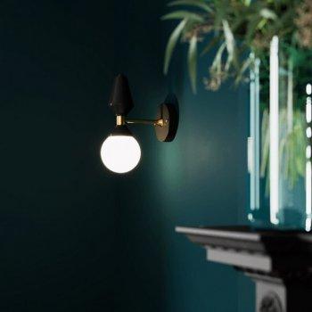 Бра для вітальні, спальні, офісу, кафе, передпокої Dome №4 6257-2 скло білий/сталь чорний PikArt