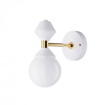 Бра для вітальні, спальні, офісу, кафе, передпокої Dome №3 6252-1 скло білий/сталь білий PikArt