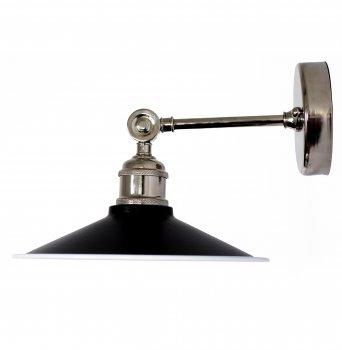 Бра для вітальні, спальні, вітальні, офісу, кафе 776-1 сталь чорний з білим/латунь сріблястий PikArt
