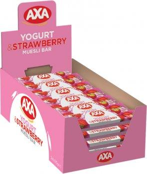 Упаковка зернових батончиків AXA зі смаком йогурту та полуницею 25 г х 24 шт. (4820008129420)