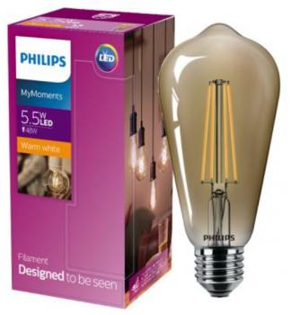 Светодиодная лампа Philips Filament LED Classic 5,5-48W ST64 E27 825 CL GNDAPR (929001941808)
