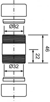 Муфта латунная McALPINE 32х32 мм хром (5036484044983)