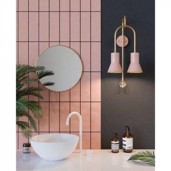 Бра для вітальні, спальні, вітальні, офісу, прихожої, кафе ARCH 9302-6 сталь рожевий/латунь золотистий PikArt