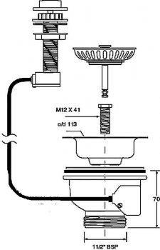 Водослив для мойки McALPINE полуавтоматический 90х1 1/2 без перелива (5036484002471)