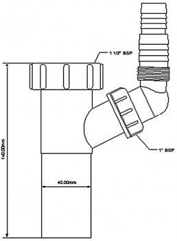 Патрубок пластиковый для сифона McALPINE 1 1/2х40х140 c подключением к стиральной машине (5036484500014)