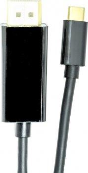 Кабель PowerPlant USB Type-C 3.1 Thunderbolt 3 (M) — DisplayPort (M) 4K 1.8 м Чорний (CA911844)
