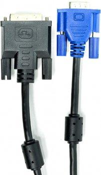 Відеокабель PowerPlant DVI-I (24+5) (M) - VGA (M) 1 м Чорний (CA911981)