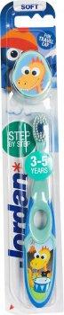 Детская зубная щетка Jordan Step2 3-5 лет мягкая с колпачком для путешествий (7038516220202_бирюзово-голубая)