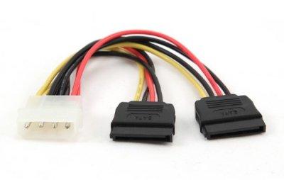 Шлейф живлення Cablexpert CC-SATA-PSY2 (Molex) M/F + SATA кабель живлення, 0.15 мм
