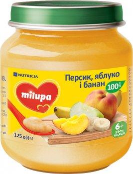 Упаковка пюре Milupa фруктового Персик, яблуко, банан для дітей від 6 місяців 125 г х 6 шт. (8591119003997)