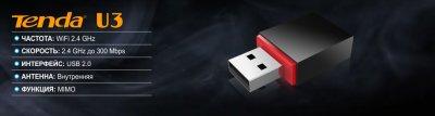 WIFI бездротового USB-адаптер TENDA U3 MIMO, SoftAP, Plug & Play