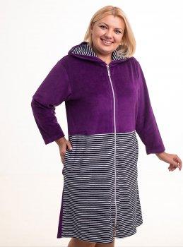 Халат Bonita женский велюровый с капюшоном фиолетовый с черно-белым