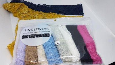 Набор женского нижнего белья трусики стринги Oxa кружевные хлопковые разноцветные 10 штук