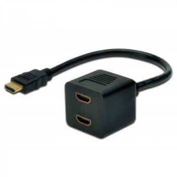 Кабель мультимедийный HDMI F to 2xHDMI M DIGITUS (AK-330400-002-S)