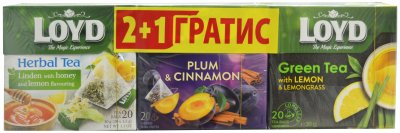 Чайный набор Loyd 2+1 зеленый Лимон и лемонграсс + фруктовый Липа, лимон и мед + фруктовый Сливы и корицы в пирамидках 60 шт (5900396022073)
