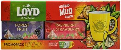 Чайный ягодный набор Loyd Лесные ягоды+Малина и клубника в пирамидках 40 шт+Чашка (5900396028198/5900396028501)