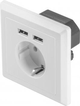 Розетка Lanberg Schuko Socket 2 USB Port 2.1A Біла (AC-WS01-USB2-F)