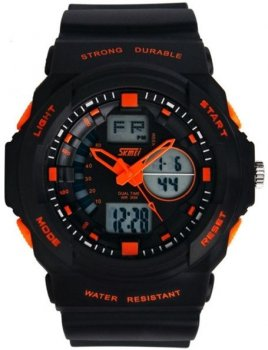 Чоловічий годинник Skmei 0955 Black-Orange BOX (0955BOXBO)