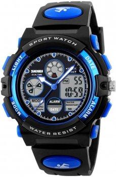 Чоловічий годинник Skmei 1163 BK-blue BOX (1163BOXBKBL)