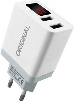 Мережевий зарядний пристрій XoKo Original WC-350 з вимірником струму, 2 USB, 3.1 A White (WС-350-WНТ)