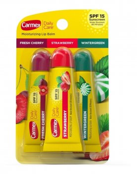 Набор Бальзамов для губ Carmex Variety Pack Tubes Клубника, вишня, мятная конфетка