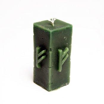 Свеча руническая зеленая (феху) 10051