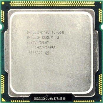 Б/У, Процесор, Intel Core i3-560, LGA1156, 2х3.33GHz, 4 потоку, 4 МБ, 1333 Mhz, s1156