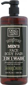 Гель для душа мужской 3 в 1 Dead Sea Collection Amber Wood для тела, волос и лица 1000 мл (7290102256976)