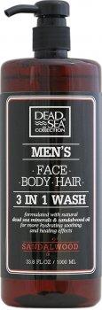 Гель для душа мужской 3 в 1 Dead Sea Collection Sandalwood для тела, волос и лица 1000 мл (7290102256952)