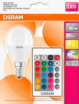 Світлодіодна лампа Osram LED STAR + P40 DIM 4.5 W (470 Lm) 2700 K + RGB E14 пульт ДК (4058075430877)