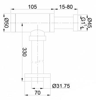 """Сифон для раковины VOLLE цилиндрический 1 1/4""""x32 мм 90-00-182"""
