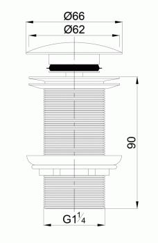Донный клапан для раковины VOLLE 90-00-043 без перелива хром