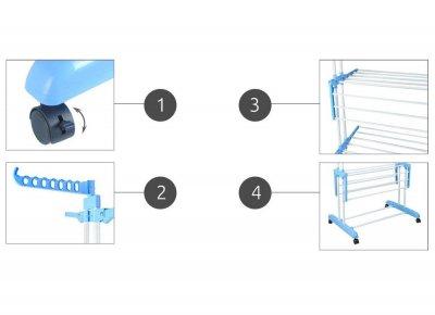 Универсальная складная напольная сушилка для одежды (вещей и белья) вертикальная, на 3 яруса, синяя (1007613-Blue-1)
