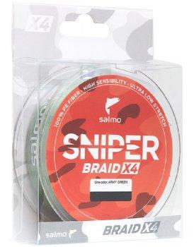 Шнур плетёный Salmo Sniper BRAID X4 Army 120 м 0.148 мм Green (4926-014)