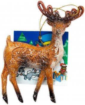 Ялинкова іграшка Маг2000 Пластикова Олень стоiть 12 х 11.4 см (190019) (5102682190019)