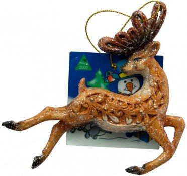 Ялинкова іграшка Маг2000 Пластикова Олень біжить 12 х 11.4 см (190019) (5102682190019)
