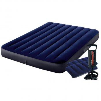 Полуторный надувной матрас Intex 64758-2 137x191x25 см с насосом и 2 подушками Синий (12167)