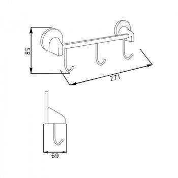 Крючок для ванной GF (CRM)/S-2814-3 тройной настенный