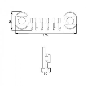 Крючок для ванной Potato P2914-6 настенный